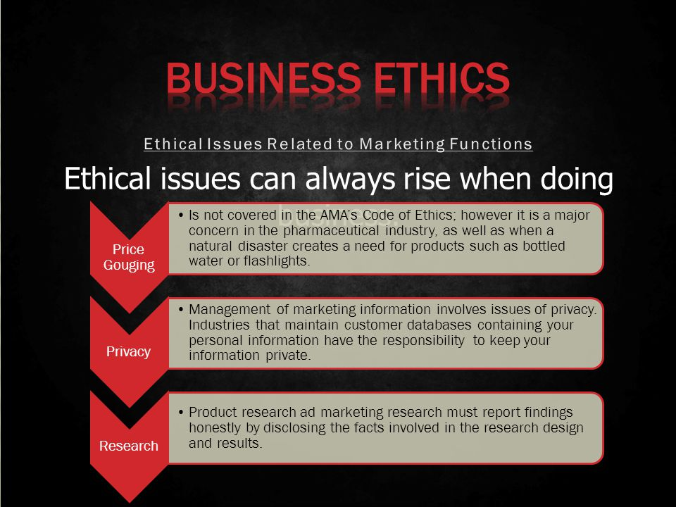 Ethical issues can always rise when doing business. Price Gouging Is not covered in the AMAs Code of Ethics; however it is a major concern in the phar