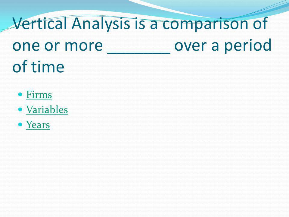 Vertical Analysis is also known as Dynamic Analysis Static Analysis