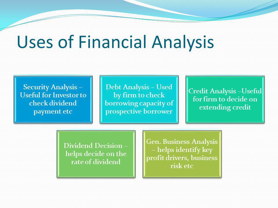 Purpose of Financial Analysis Judging Profitability Inter-firm Comparison Understanding Preparing Budgets Making Forecasts Judging Solvency Judging Managerial Efficiency