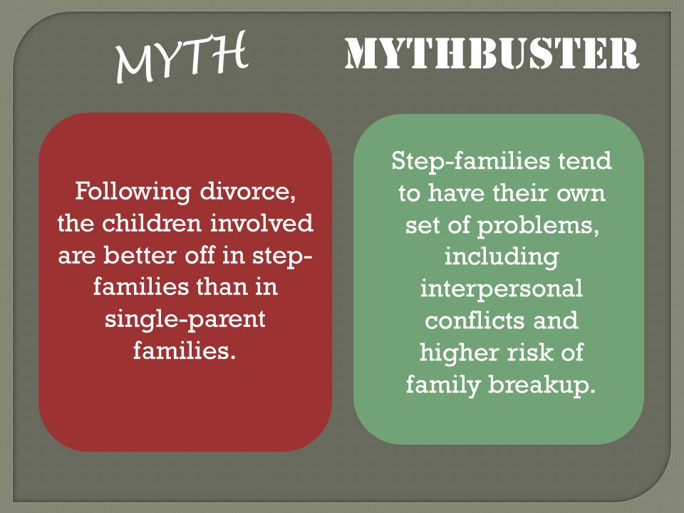 MYTH Following divorce, the children involved are better off in step- families than in single-parent families.