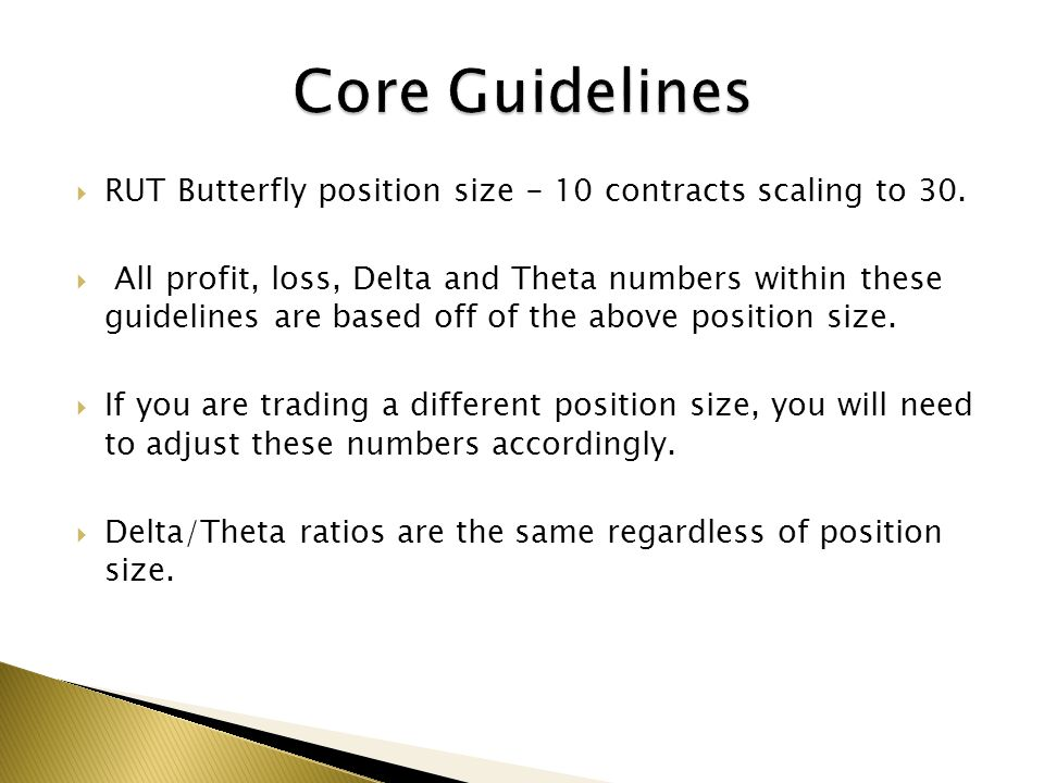 RUT Butterfly position size - 10 contracts scaling to 30. All profit, loss, Delta and Theta numbers within these guidelines are based off of the above