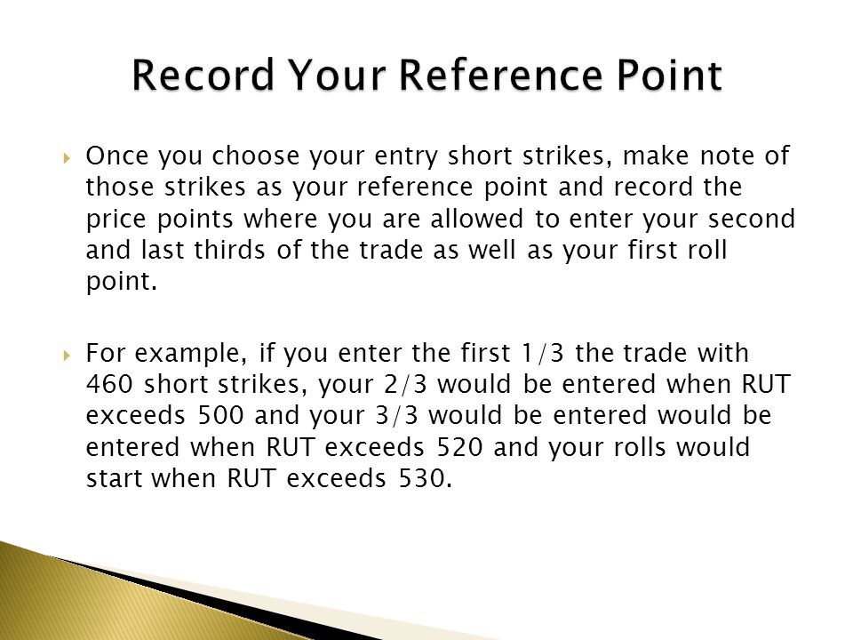 Once you choose your entry short strikes, make note of those strikes as your reference point and record the price points where you are allowed to ente