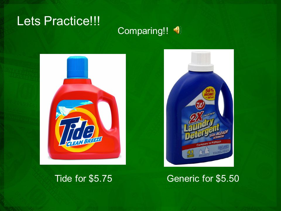Lets Practice!!! 1 for $2.752 for $5.00 Comparing!!