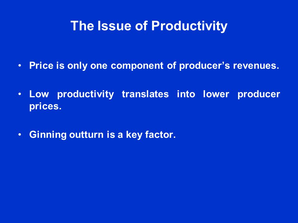 The Issue of Productivity Price is only one component of producers revenues.