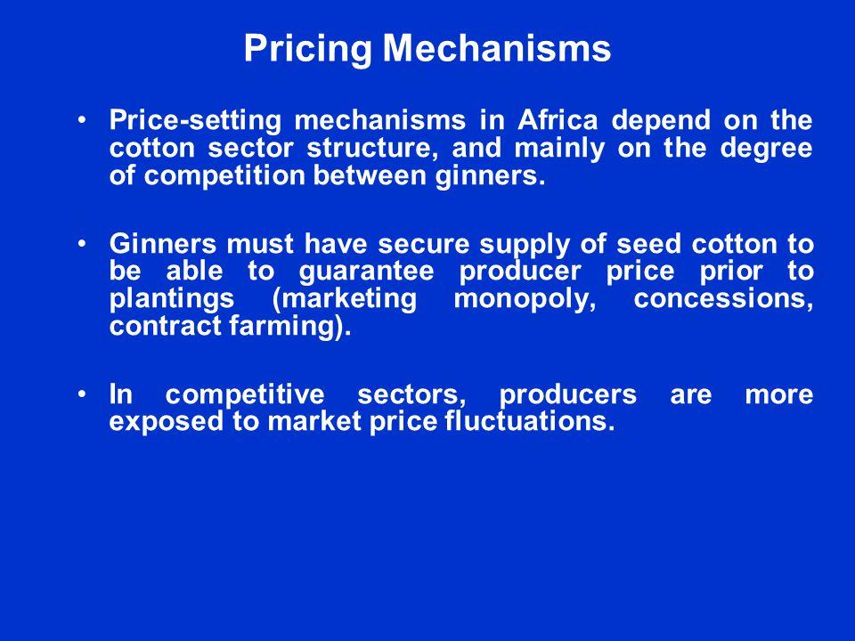 Pricing Mechanisms WCA countries: Pan-seasonal, pan-territorial minimum guaranteed pre-planting price based on price projections.