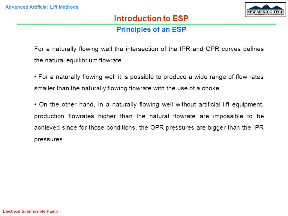 Advanced Artificial Lift Methods Electrical Submersible Pump For a naturally flowing well the intersection of the IPR and OPR curves defines the natur