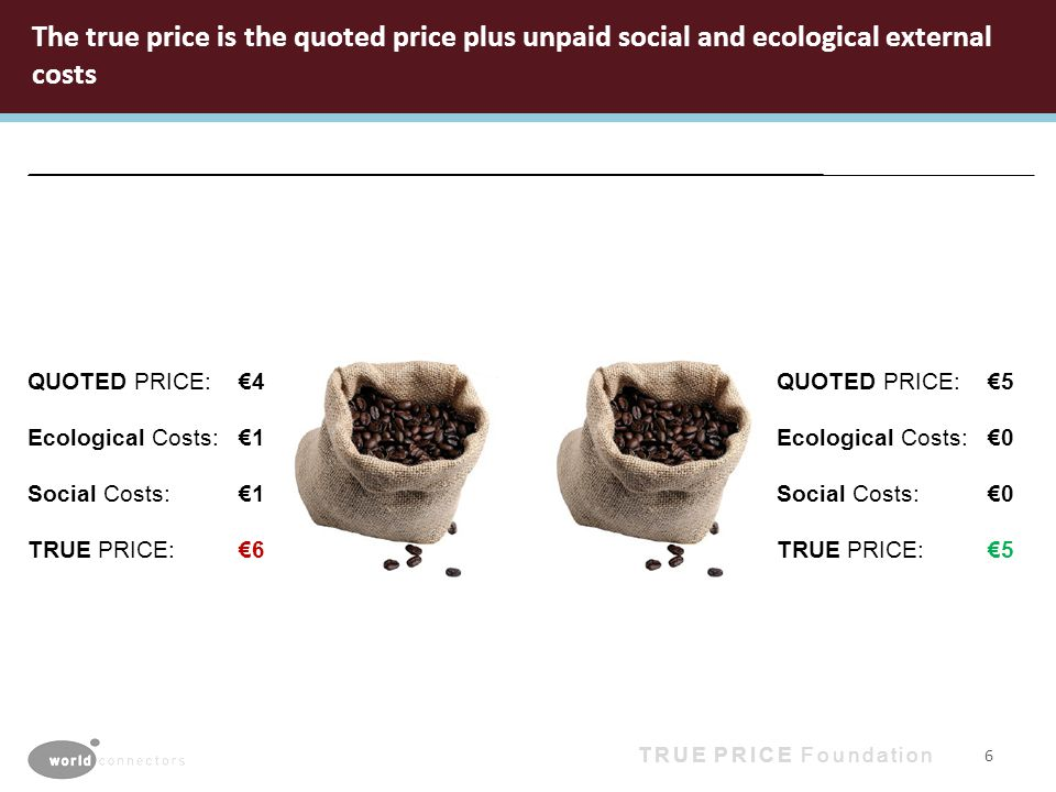 True Price Foundation 2012 The true price is the quoted price plus unpaid social and ecological external costs 6 QUOTED PRICE: 4 Ecological Costs: 1 Social Costs: 1 TRUE PRICE: 6 QUOTED PRICE: 5 Ecological Costs: 0 Social Costs: 0 TRUE PRICE: 5