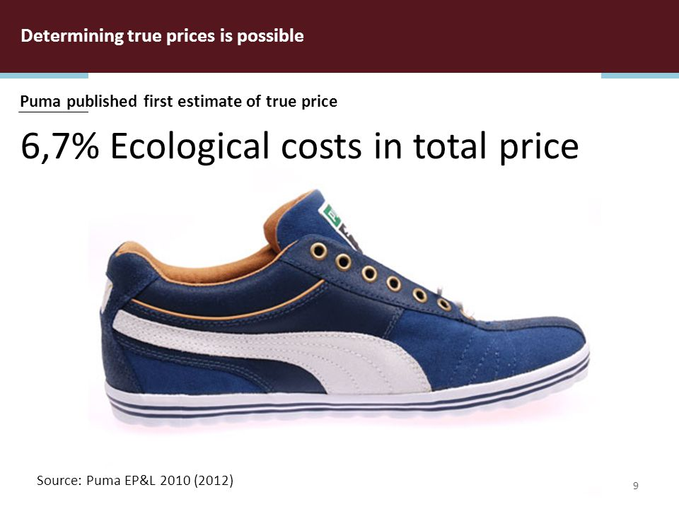 TRUE PRICE Foundation True Price Foundation 2012 Determining true prices is possible 9 6,7% Ecological costs in total price Puma published first estimate of true price Source: Puma EP&L 2010 (2012)