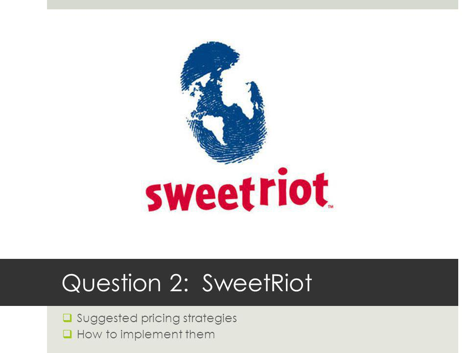 Question 2:SweetRiot Suggested pricing strategies How to implement them