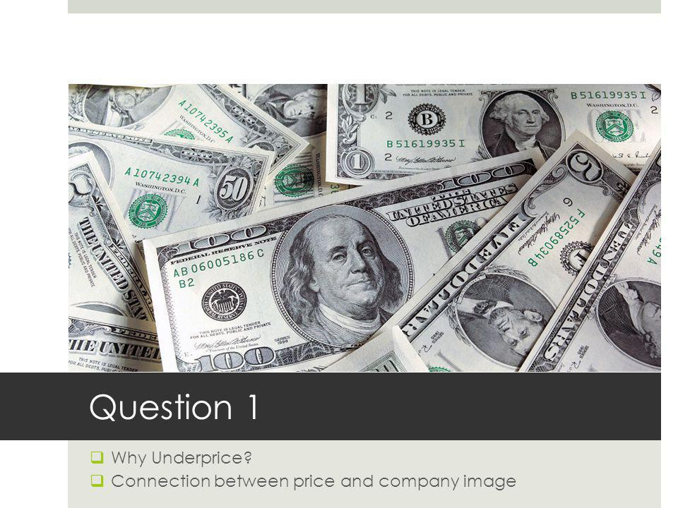 Question 1 Why Underprice? Connection between price and company image