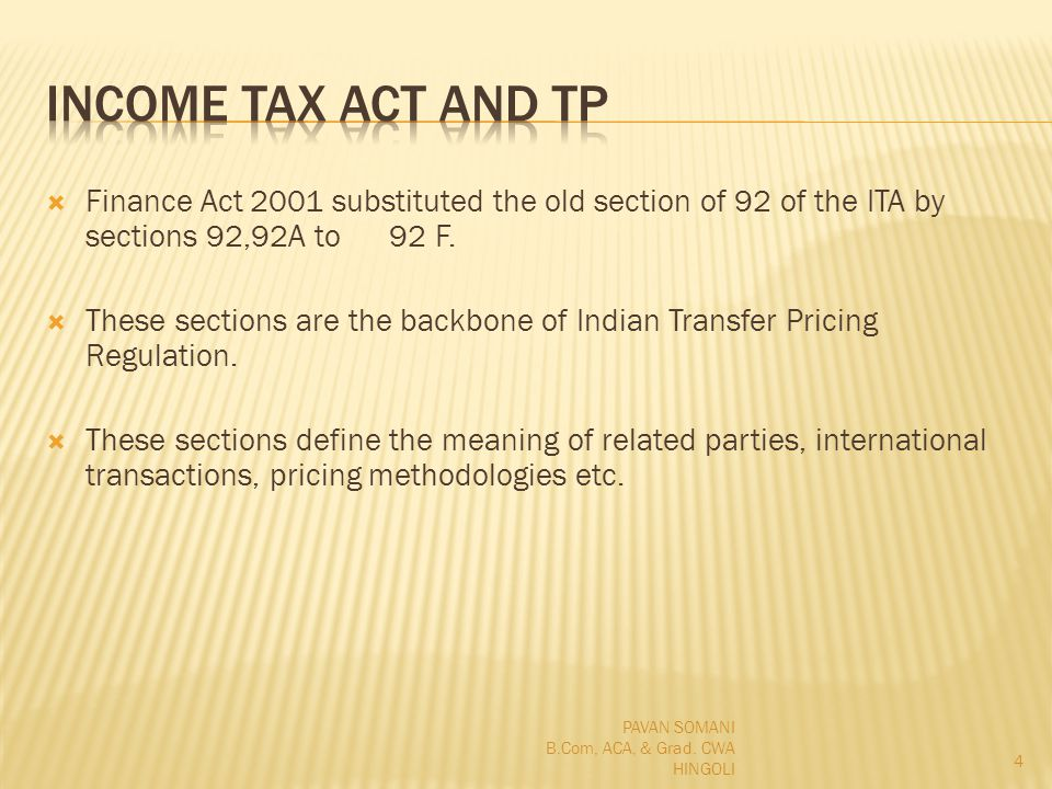Finance Act 2001 substituted the old section of 92 of the ITA by sections 92,92A to 92 F.