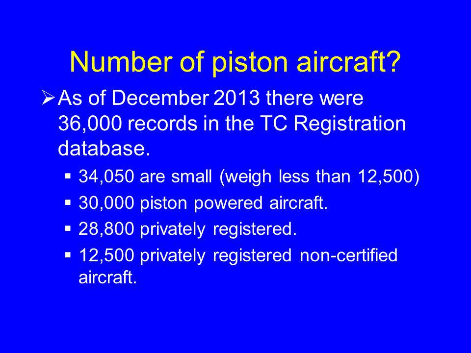 Number of piston aircraft.