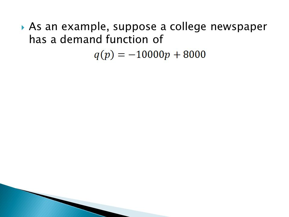 As an example, suppose a college newspaper has a demand function of