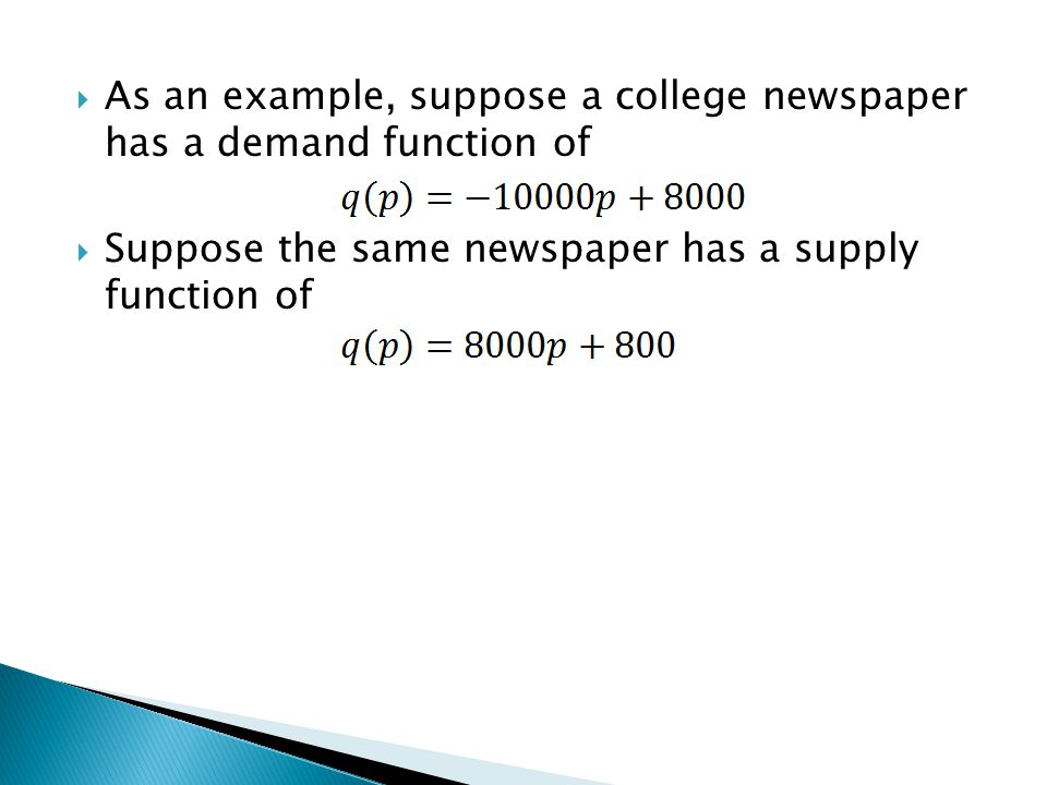 Suppose the same newspaper has a supply function of