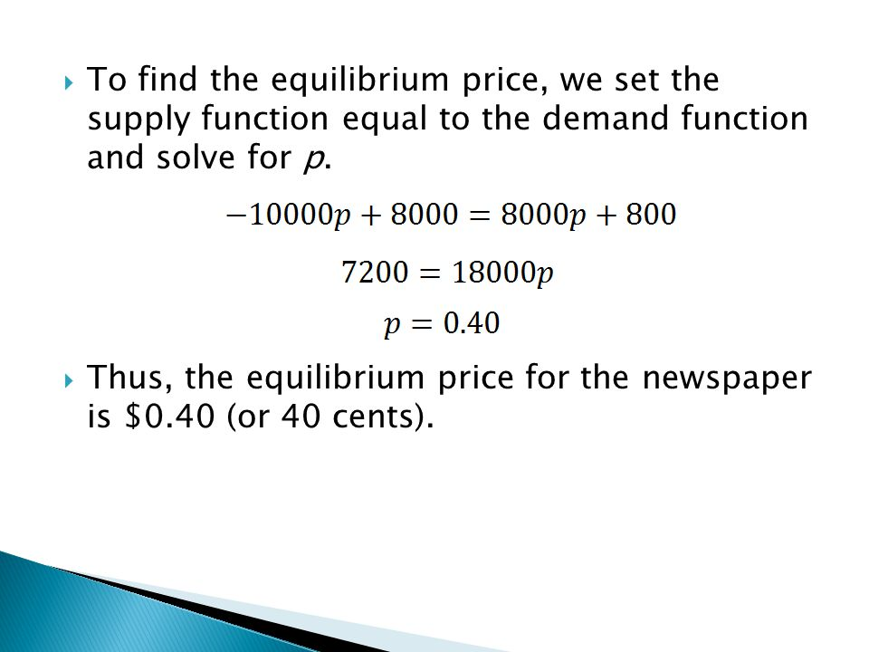 Thus, the equilibrium price for the newspaper is $0.40 (or 40 cents).