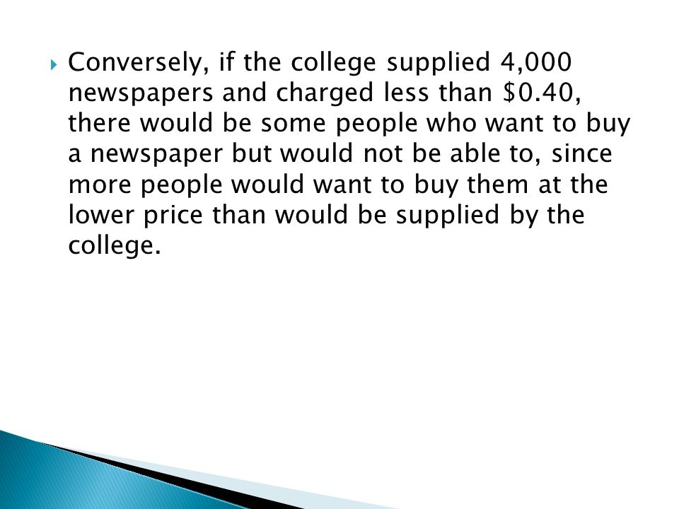 Conversely, if the college supplied 4,000 newspapers and charged less than $0.40, there would be some people who want to buy a newspaper but would not be able to, since more people would want to buy them at the lower price than would be supplied by the college.