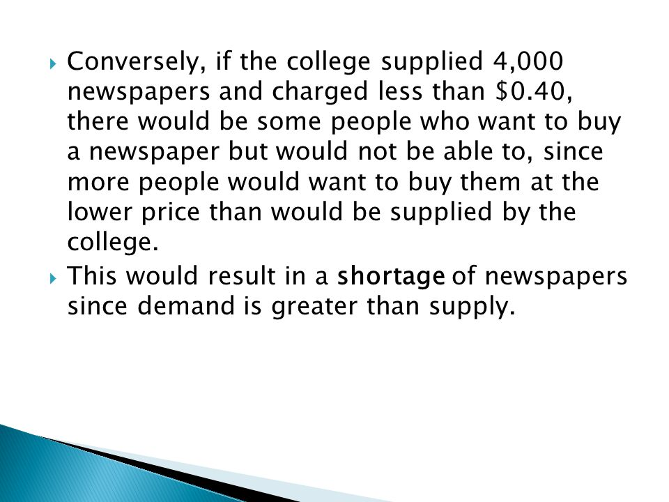 This would result in a shortage of newspapers since demand is greater than supply.