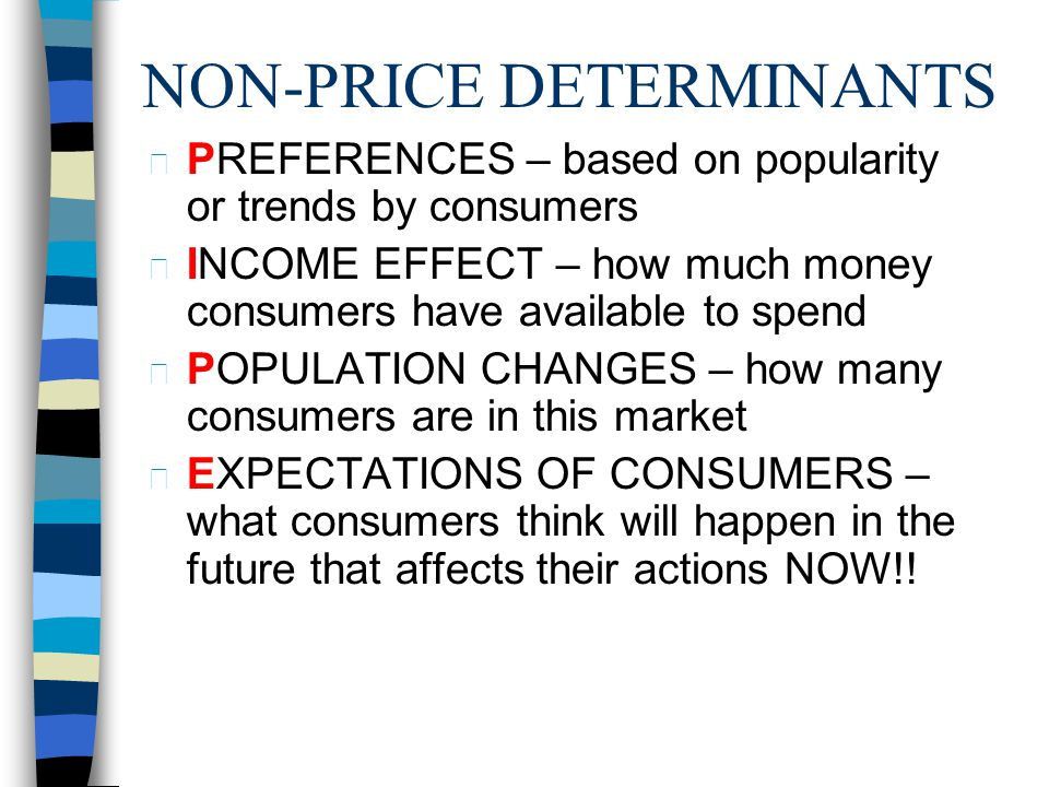 LAW OF DEMAND n Demand varies inversely with price n If Price goes up – Demand goes down Ex: luxury cars n If Price goes down – Demand goes up - Ex: c