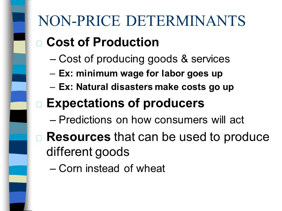 LAW OF SUPPLY n Supply varies directly with price n If Price goes up – Supply goes up n If Price goes down – Supply goes down