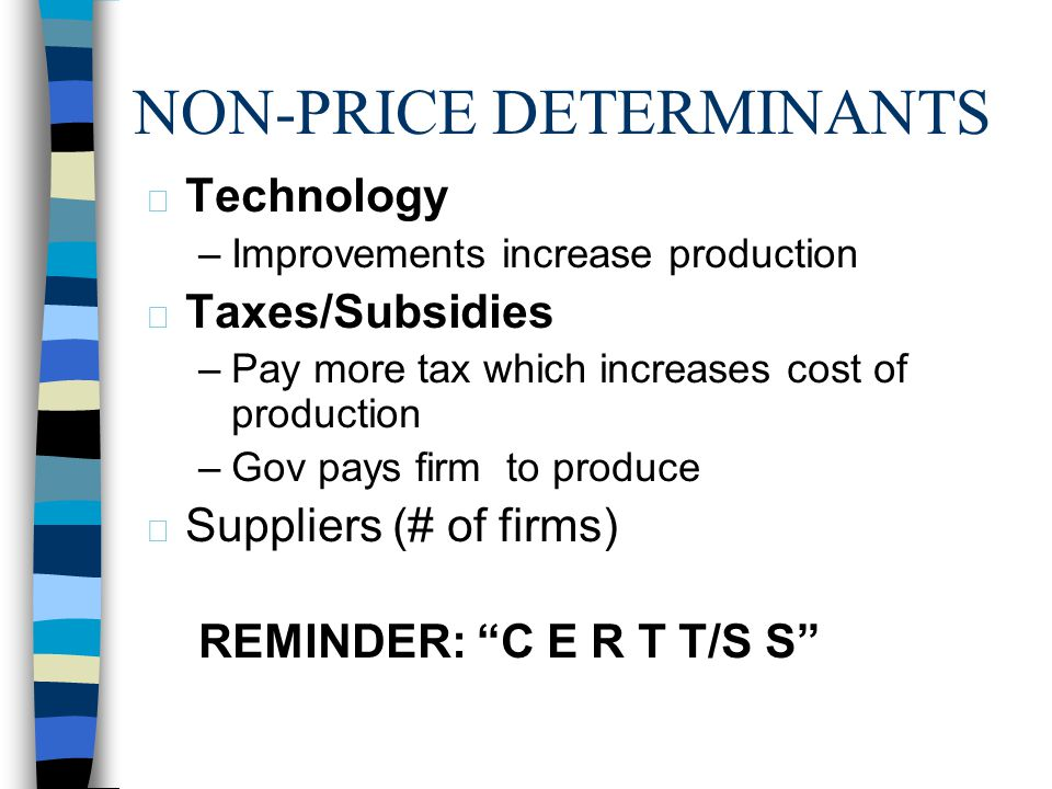 NON-PRICE DETERMINANTS n Cost of Production –Cost of producing goods & services –Ex: minimum wage for labor goes up –Ex: Natural disasters make costs