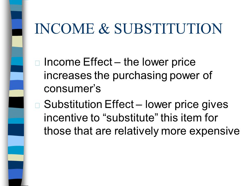 DEMAND CURVE n P is the vertical axis n Qty of D is the horizontal axis n Demand Curve is downward sloping because: –Common sense (lower price = buy m