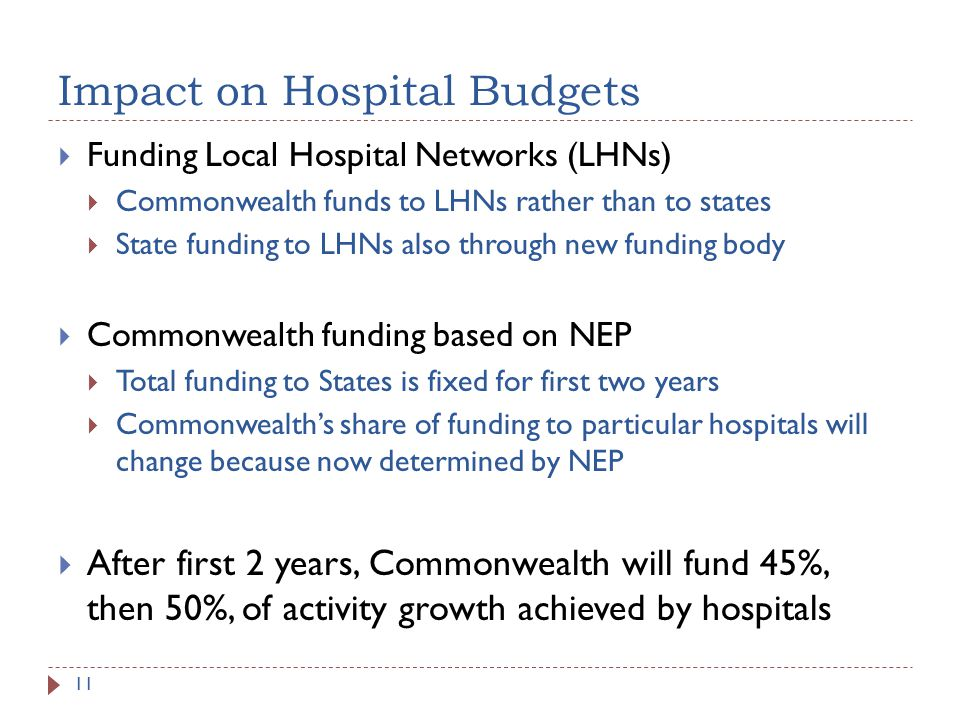 Impact on Hospital Budgets Funding Local Hospital Networks (LHNs) Commonwealth funds to LHNs rather than to states State funding to LHNs also through