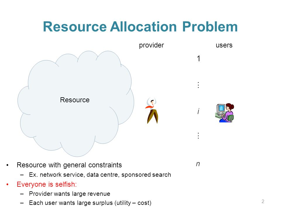 Resource Allocation Problem 2 providerusers Resource Resource with general constraints –Ex.