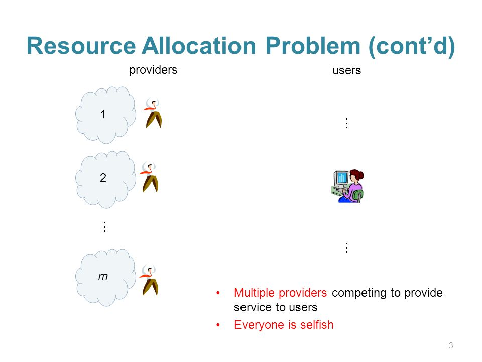 Resource Allocation Problem (contd) 3 1 providers users 2 m Multiple providers competing to provide service to users Everyone is selfish
