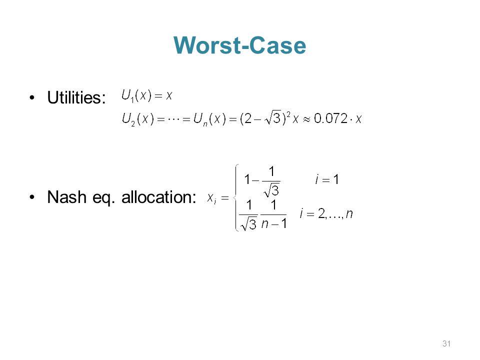 Worst-Case Utilities: Nash eq. allocation: 31