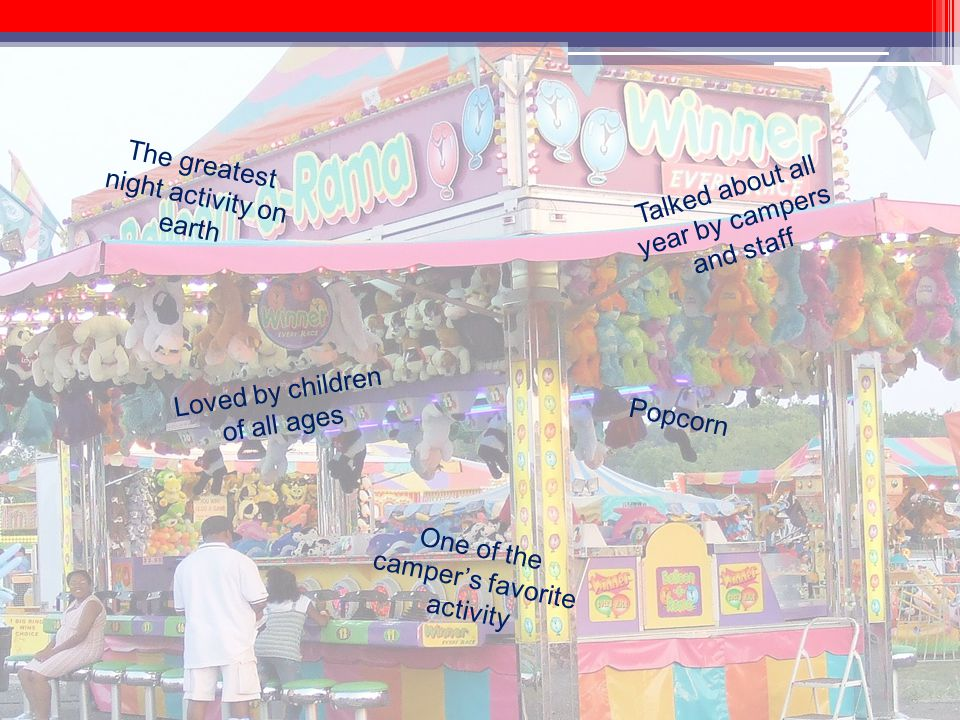 The greatest night activity on earth One of the campers favorite activity Popcorn Talked about all year by campers and staff Loved by children of all ages Cotton Candy Fun Prizes Snow Cones