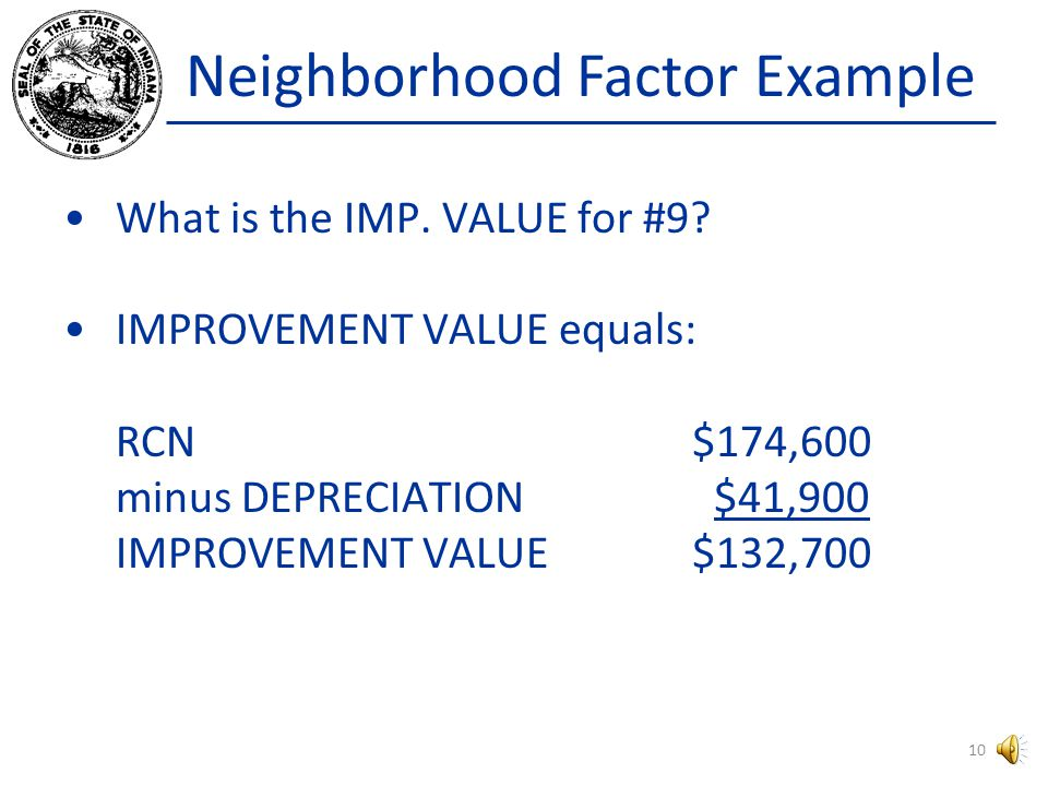 Neighborhood Factor Example The dwelling associated with Sale #9 has a Replacement Cost New of $174,600.