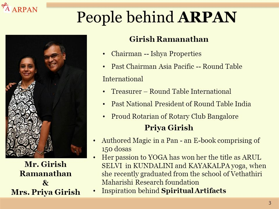3 Mr. Girish Ramanathan & Mrs. Priya Girish People behind ARPAN Girish Ramanathan Chairman -- Ishya Properties Past Chairman Asia Pacific -- Round Tab