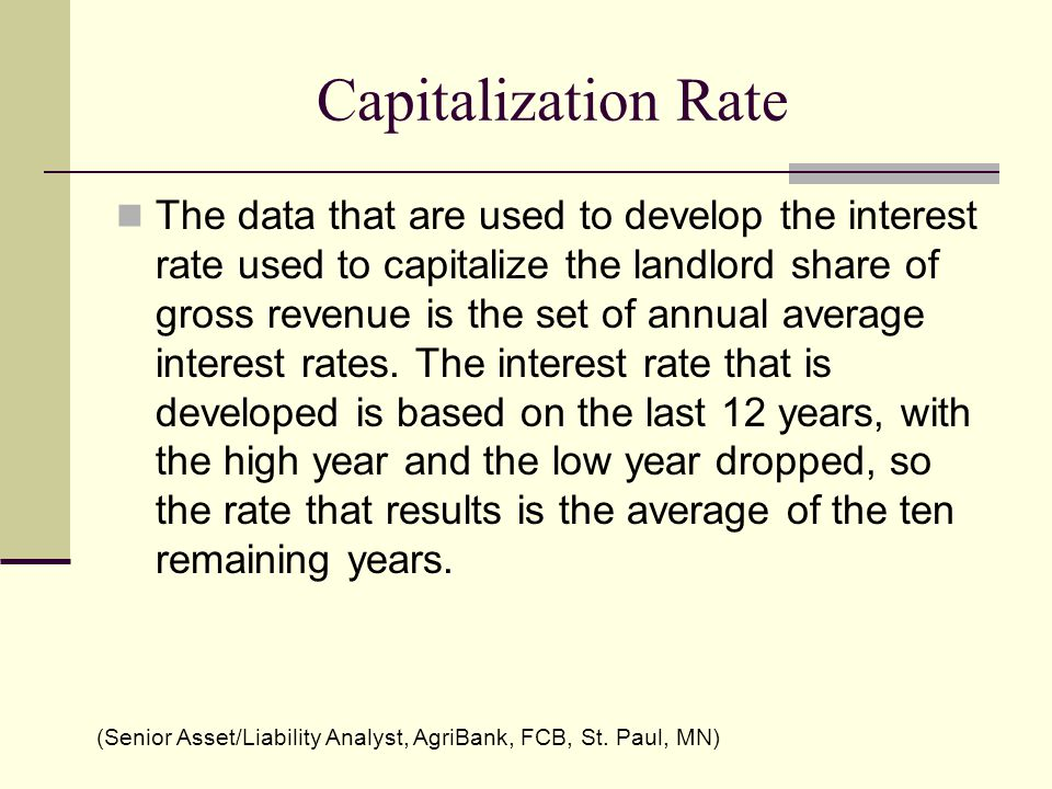 Capitalization Rate The data that are used to develop the interest rate used to capitalize the landlord share of gross revenue is the set of annual average interest rates.