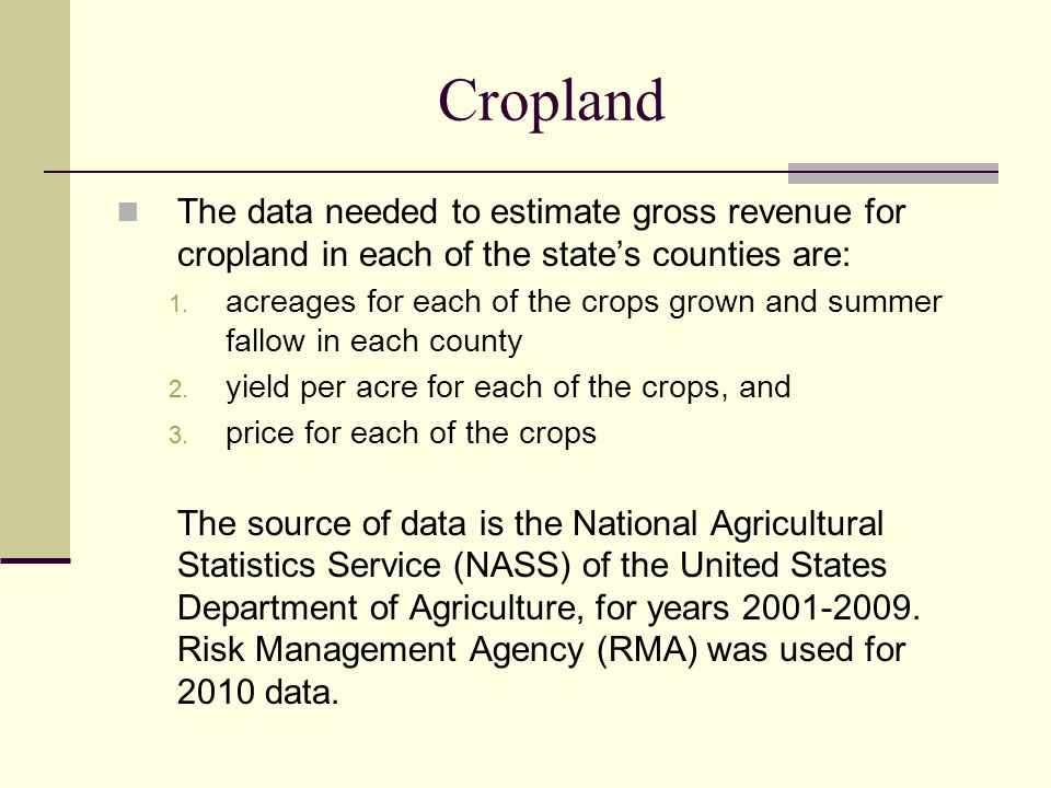 Cropland The data needed to estimate gross revenue for cropland in each of the states counties are: 1.