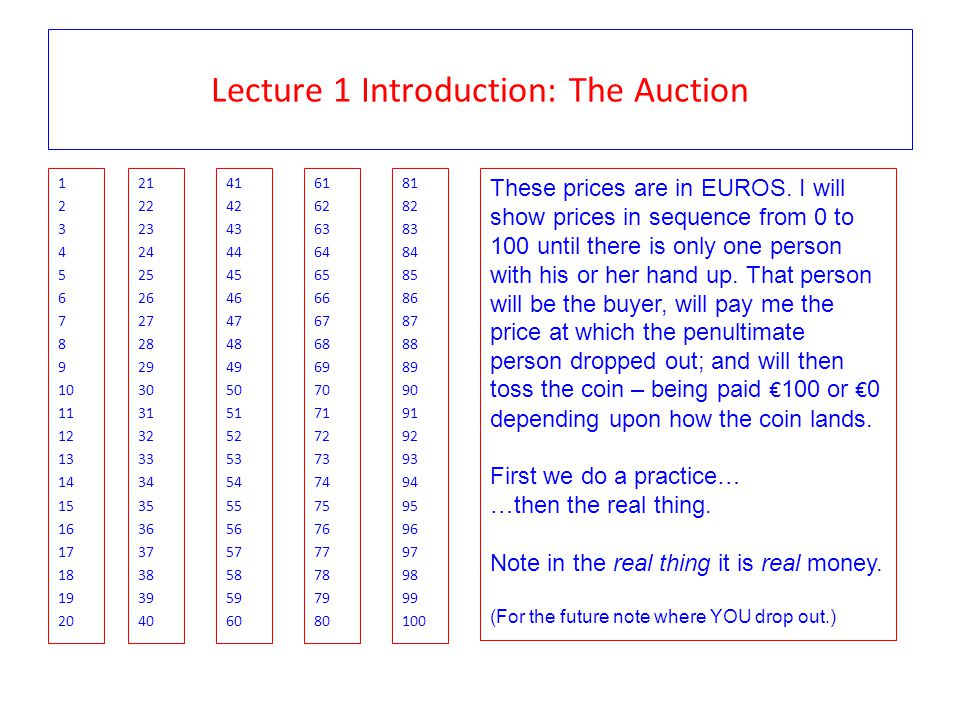 Lecture 1 Introduction: The Auction 1 2 3 4 5 6 7 8 9 10 11 12 13 14 15 16 17 18 19 20 21 22 23 24 25 26 27 28 29 30 31 32 33 34 35 36 37 38 39 40 41 42 43 44 45 46 47 48 49 50 51 52 53 54 55 56 57 58 59 60 61 62 63 64 65 66 67 68 69 70 71 72 73 74 75 76 77 78 79 80 81 82 83 84 85 86 87 88 89 90 91 92 93 94 95 96 97 98 99 100 These prices are in EUROS.
