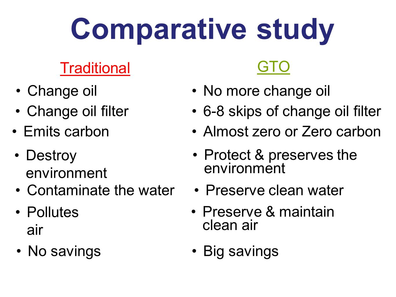 GTO Change oilNo more change oil Change oil filter6-8 skips of change oil filter Emits carbonAlmost zero or Zero carbon Destroy environment Protect & preserves the environment Contaminate the waterPreserve clean water Pollutes air Preserve & maintain clean air No savingsBig savings Comparative study Traditional