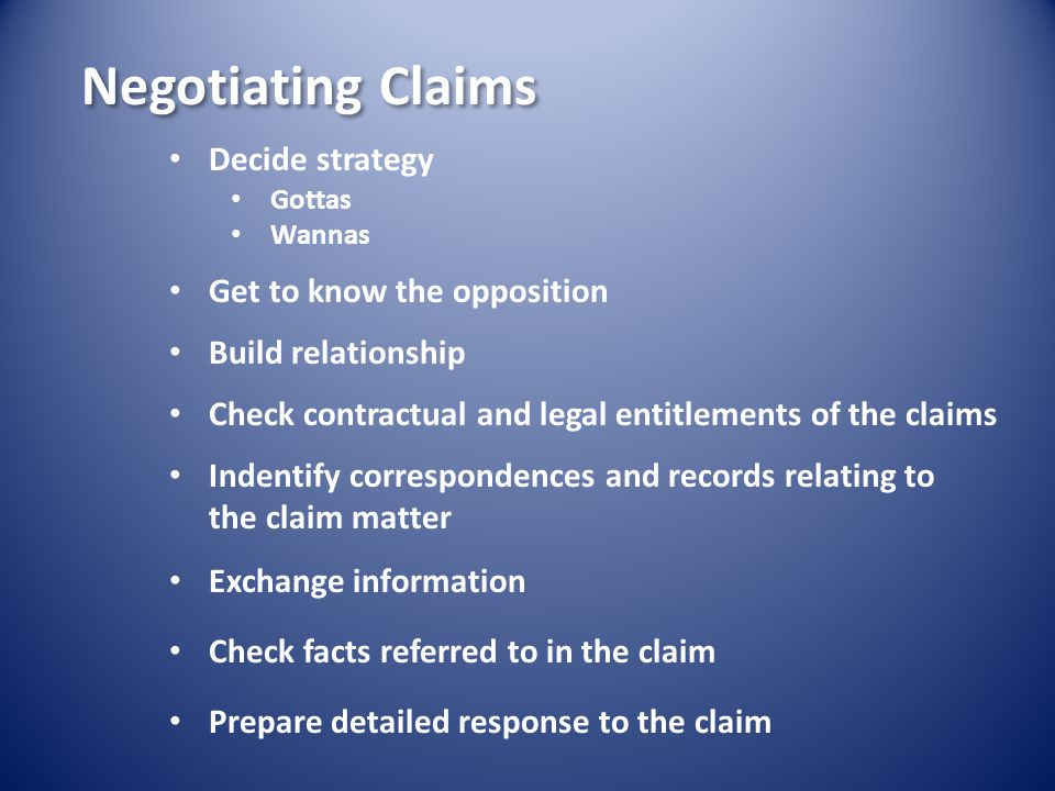 Choose negotiating team with care Negotiation almost impossible except to face to face meetings.