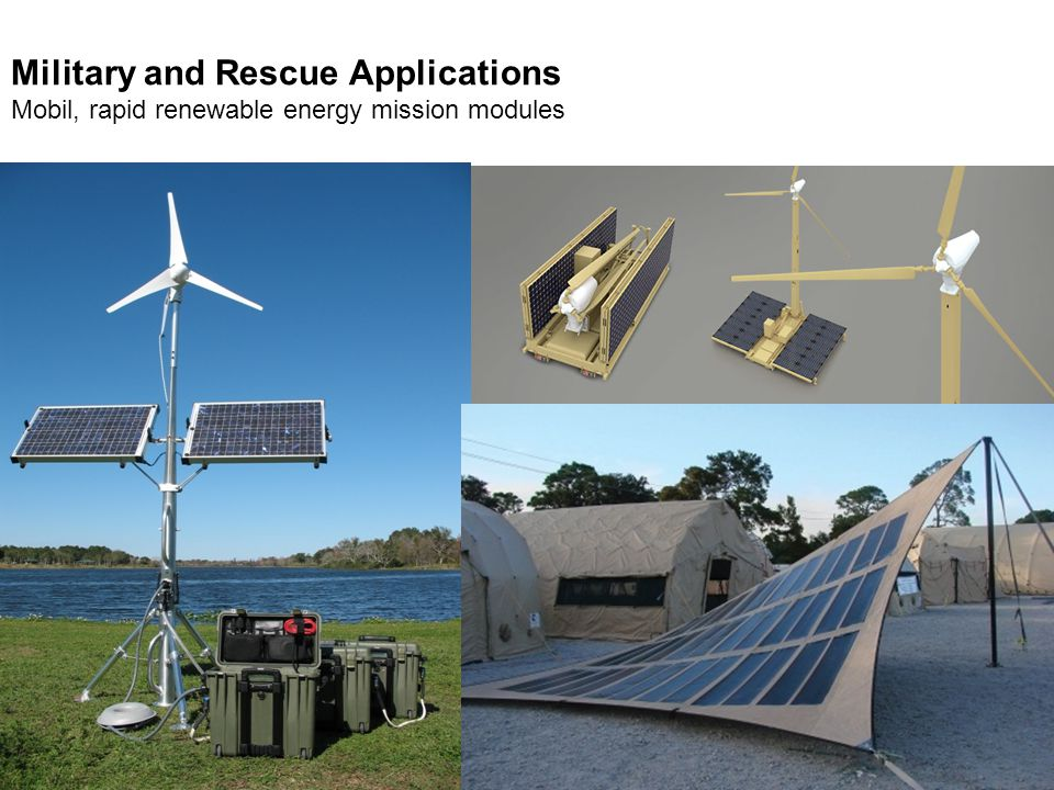 Military and Rescue Applications Mobil, rapid renewable energy mission modules