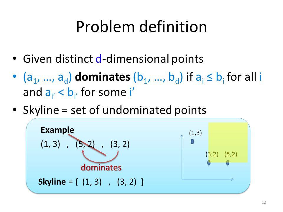 Problem definition Given distinct d-dimensional points (a 1, …, a d ) dominates (b 1, …, b d ) if a i b i for all i and a i < b i for some i Skyline =