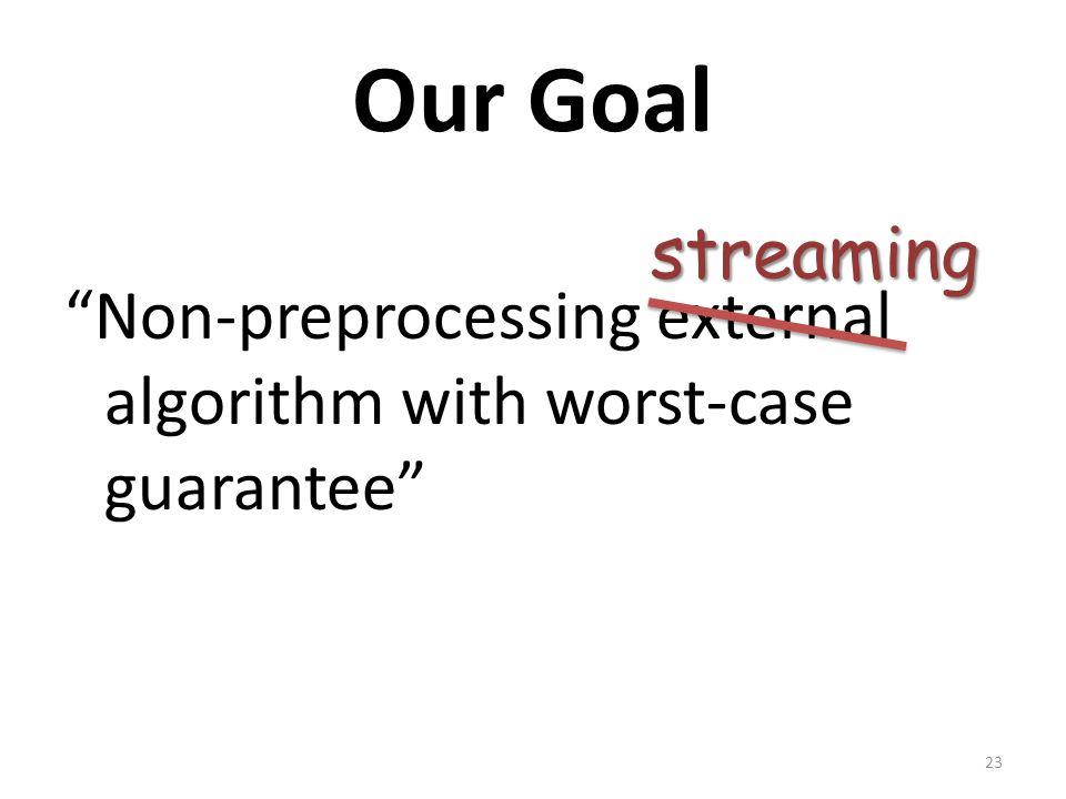Our Goal Non-preprocessing external algorithm with worst-case guarantee streaming 23