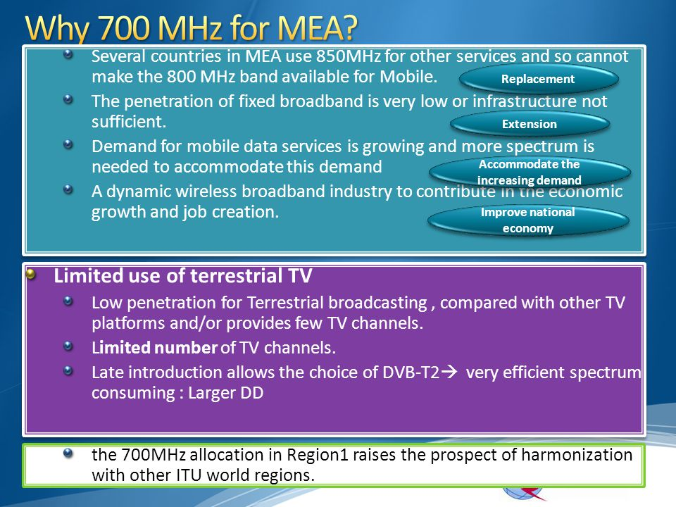 Several countries in MEA use 850MHz for other services and so cannot make the 800 MHz band available for Mobile. The penetration of fixed broadband is