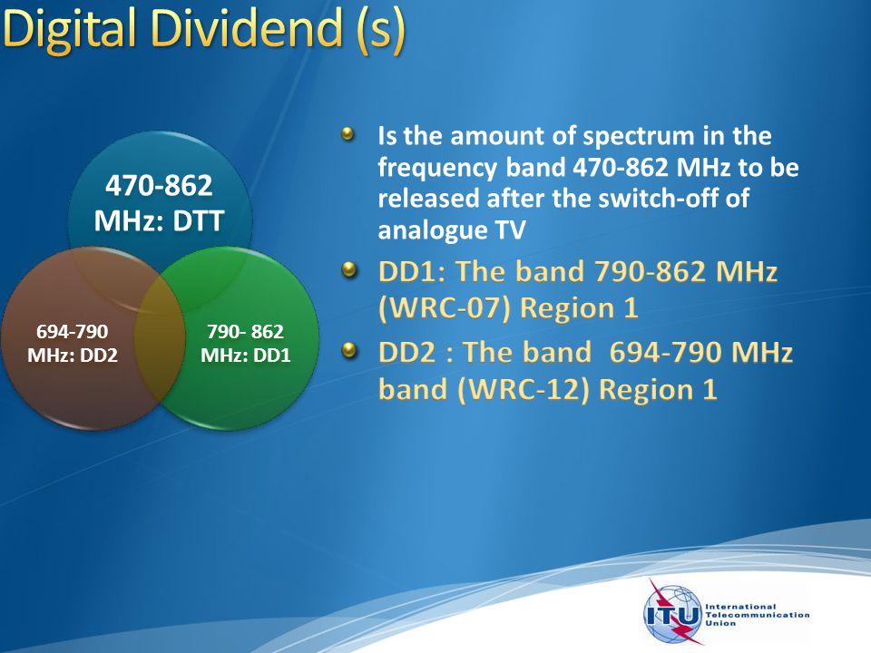 6 470-862 MHz: DTT 790- 862 MHz: DD1 694-790 MHz: DD2