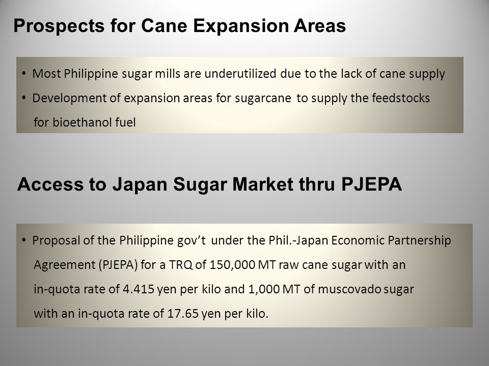 Prospects for Cane Expansion Areas Most Philippine sugar mills are underutilized due to the lack of cane supply Development of expansion areas for sug