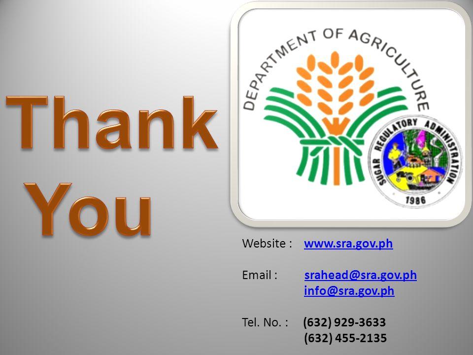 Website : www.sra.gov.phwww.sra.gov.ph Email : srahead@sra.gov.phsrahead@sra.gov.ph info@sra.gov.ph Tel. No. : (632) 929-3633 (632) 455-2135