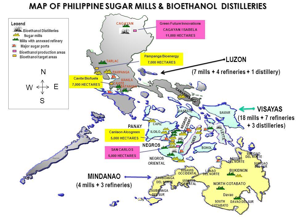 VISAYAS (18 mills + 7 refineries + 3 distilleries) MAP OF PHILIPPINE SUGAR MILLS & BIOETHANOL DISTILLERIES LUZON (7 mills + 4 refineries + 1 distiller