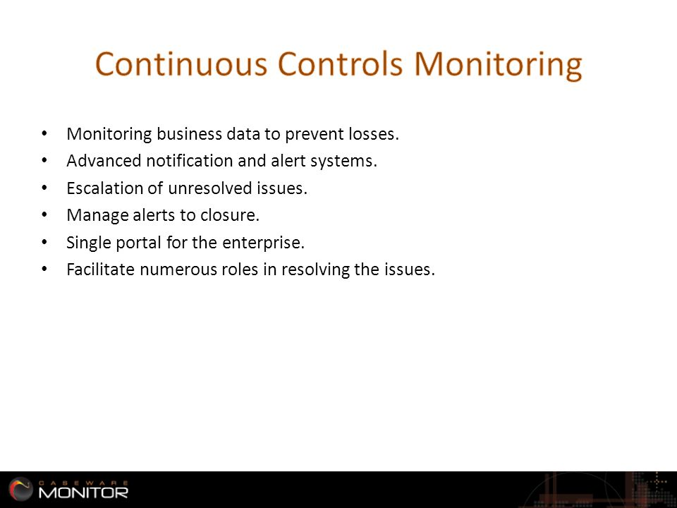 Monitoring business data to prevent losses. Advanced notification and alert systems.