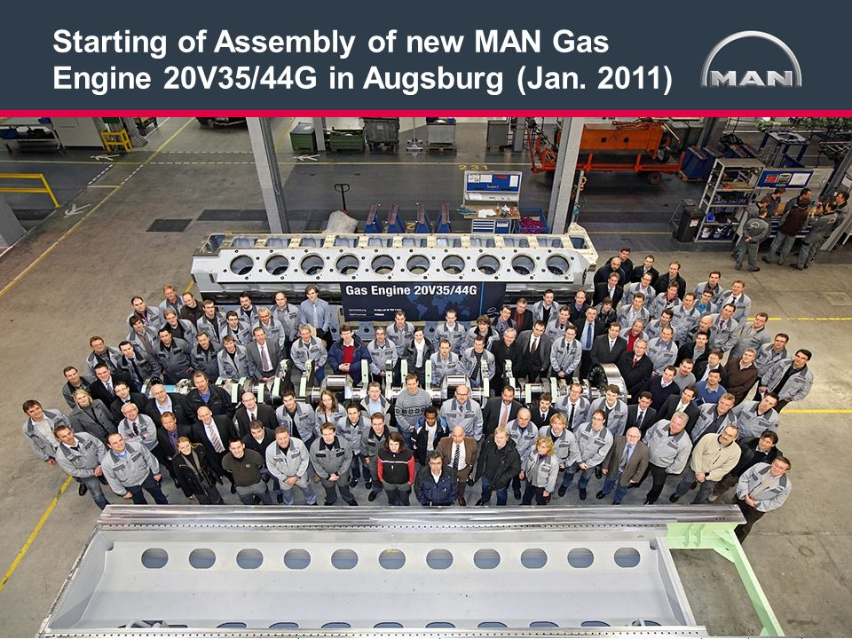4 < >MAN Diesel & TurboAuthor:Gas Engine 20V35/44G19.07.2012 Starting of Assembly of new MAN Gas Engine 20V35/44G in Augsburg (Jan.