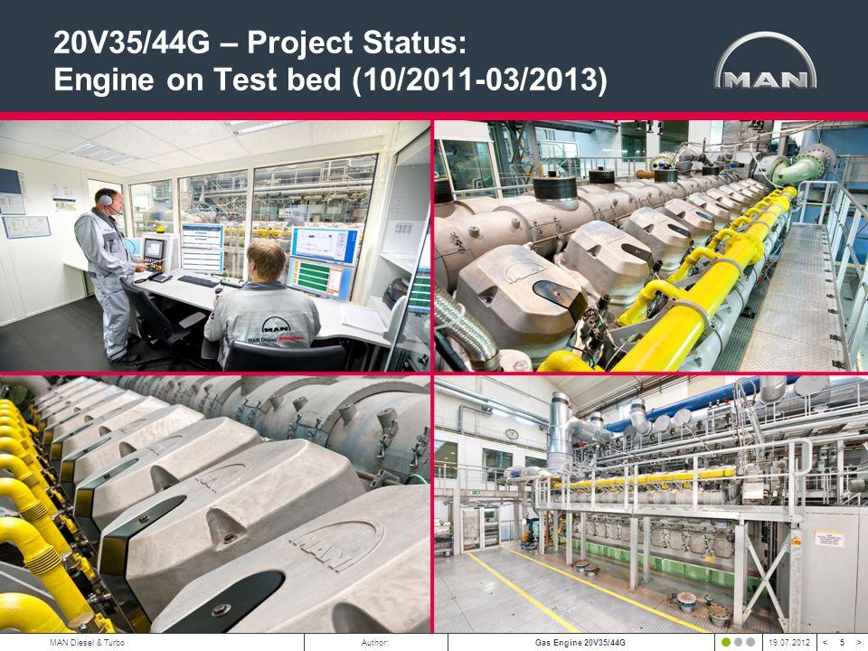 5 < >MAN Diesel & TurboAuthor:Gas Engine 20V35/44G19.07.2012 20V35/44G – Project Status: Engine on Test bed (10/2011-03/2013)