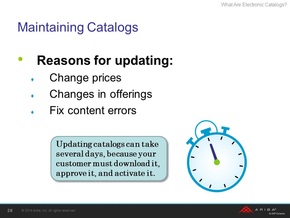 What Are Electronic Catalogs? Maintaining Catalogs Reasons for updating: Change prices Changes in offerings Fix content errors © 2014 Ariba, Inc. All