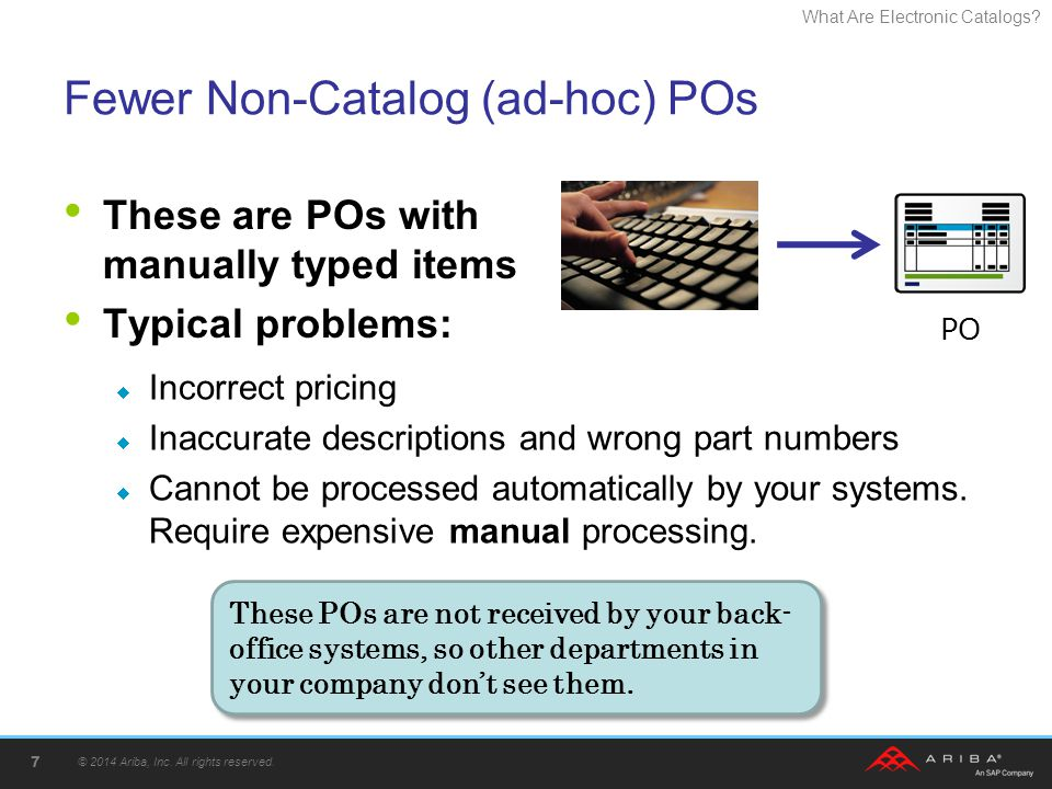 What Are Electronic Catalogs? Fewer Non-Catalog (ad-hoc) POs These are POs with manually typed items Typical problems: © 2014 Ariba, Inc. All rights r